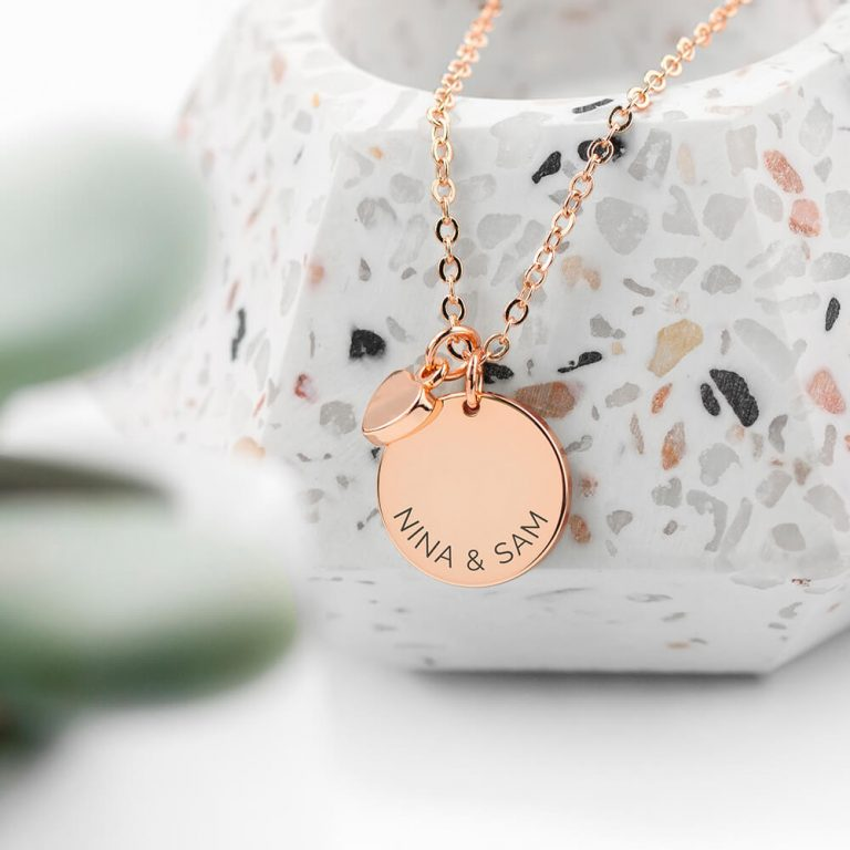 Personalised Polished Heart and Disc Necklace – Rose Gold