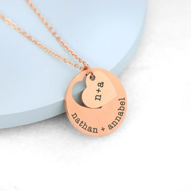 Personalised Cut-Out Heart Shape Necklace – Rose Gold