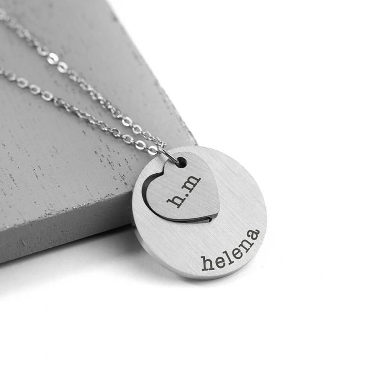 Personalised Cut-Out Heart Shape Necklace – Silver