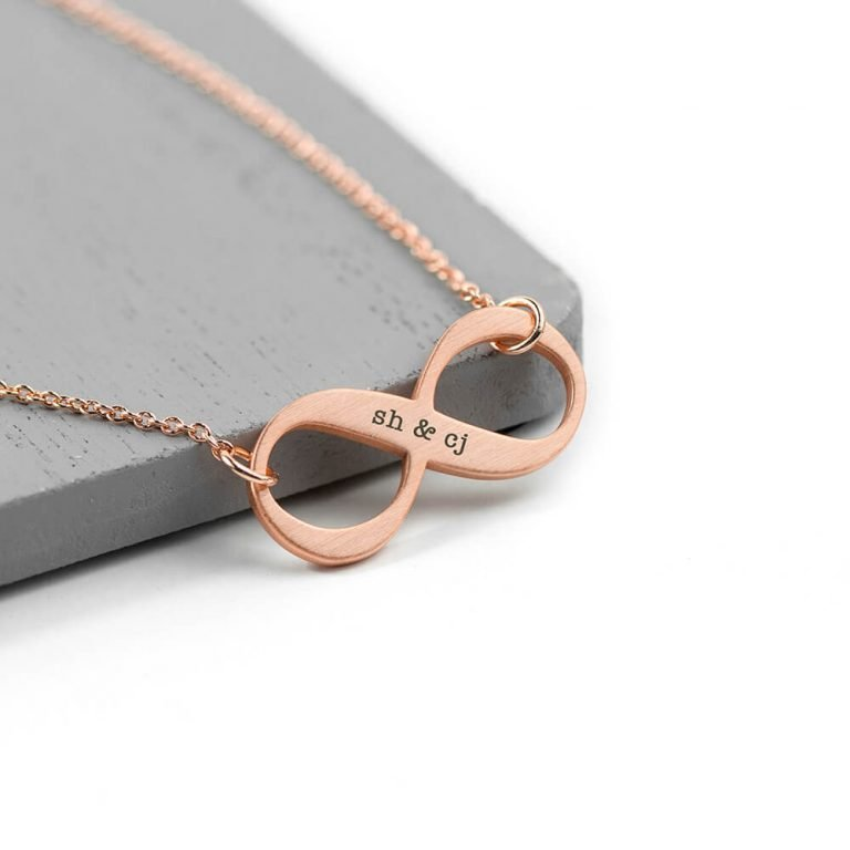 Personalised Infinity Twist Necklace – Rose Gold