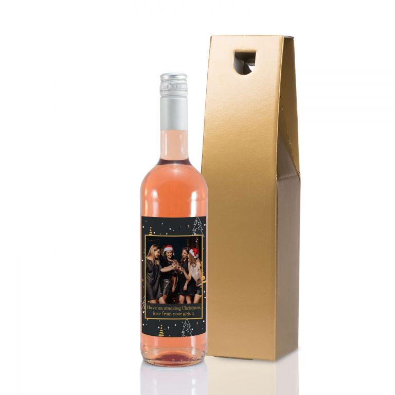 Personalised Christmas Tree Photo Upload Bottle Of Rose Wine