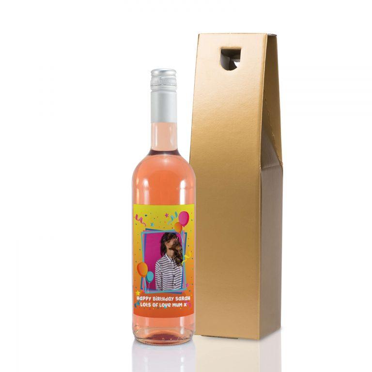 Personalised Colourful Birthday Photo Upload Bottle Of Rose Wine