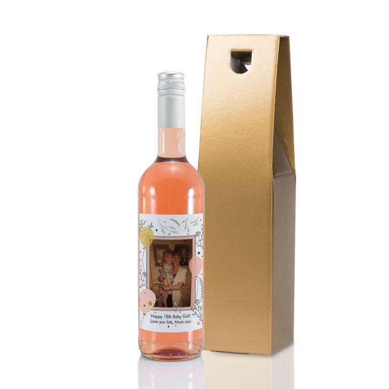 Personalised Floral Birthday Photo Upload Bottle Of Rose Wine