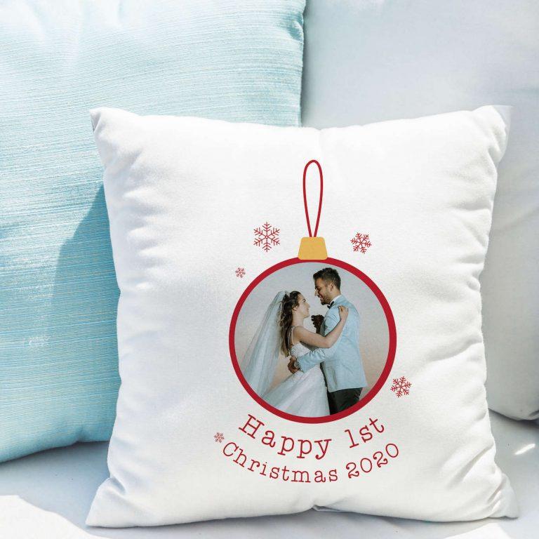 Personalised 1st Christmas Photo Upload Cushion