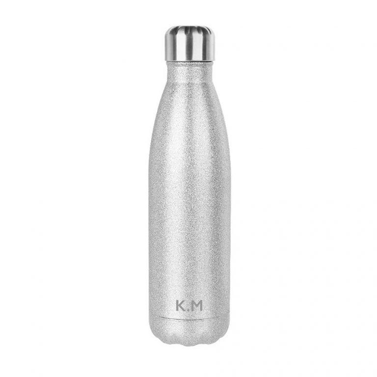 Personalised Glitter Water Bottle – Silver