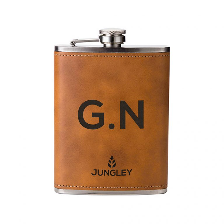Personalised Faux Leather Hip Flask – Tan