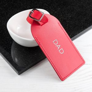 Personalised Leather Luggage Tag – Red