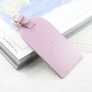 Personalised Leather Luggage Tag – Lilac