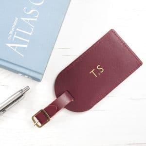 Personalised Leather Luggage Tag – Burgandy