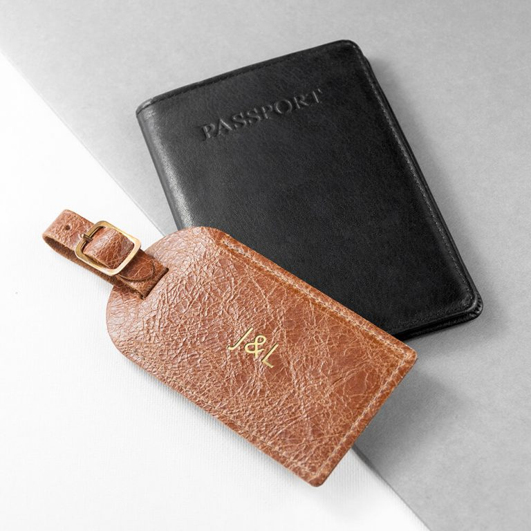 Personalised Leather Luggage Tag – Natural Tan