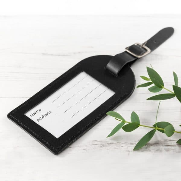 Personalised Leather Luggage Tag – Black