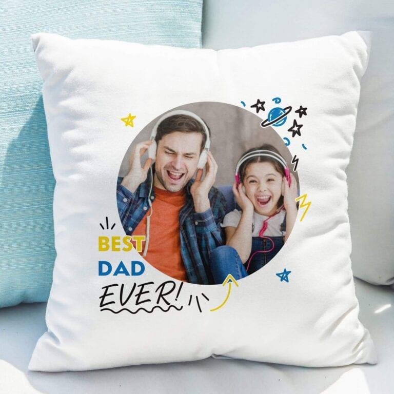 Personalised Best Dad Ever Photo Upload Cushion