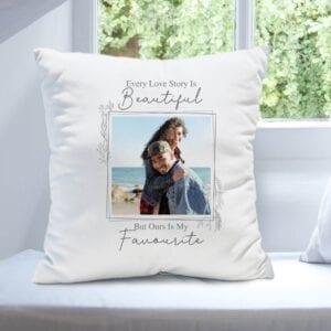 Personalised Love Story Photo Upload Cushion