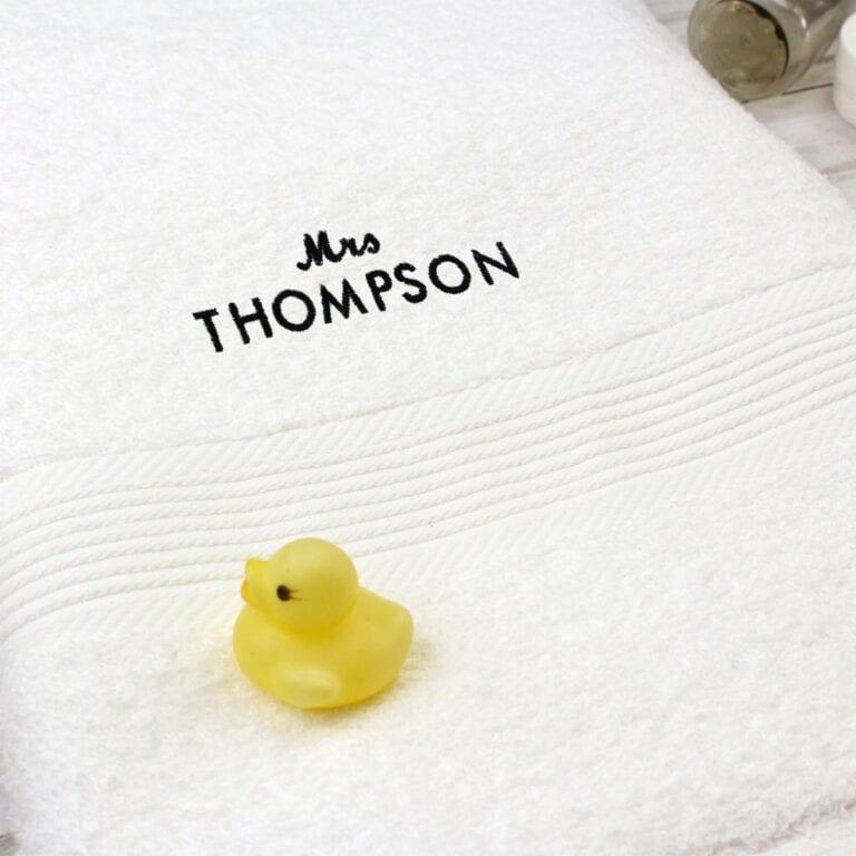 Personalised 'Mrs' White Bath Towel