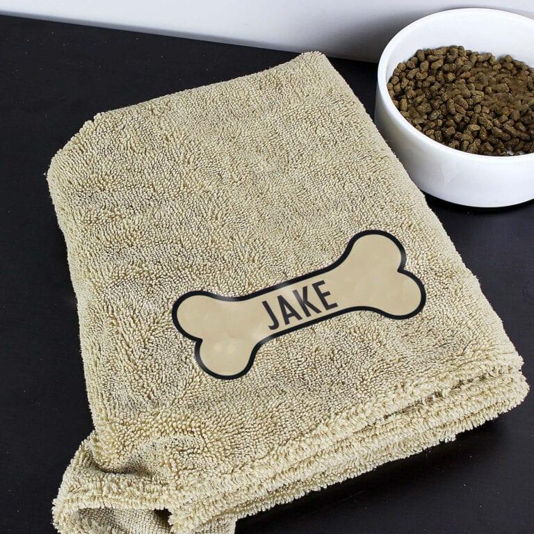 Personalised Bone Brown Microfibre Pet Towel