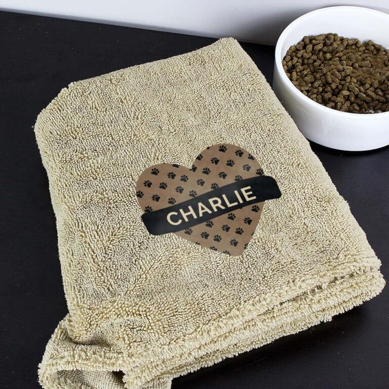 Personalised Heart Brown Microfibre Pet Towel