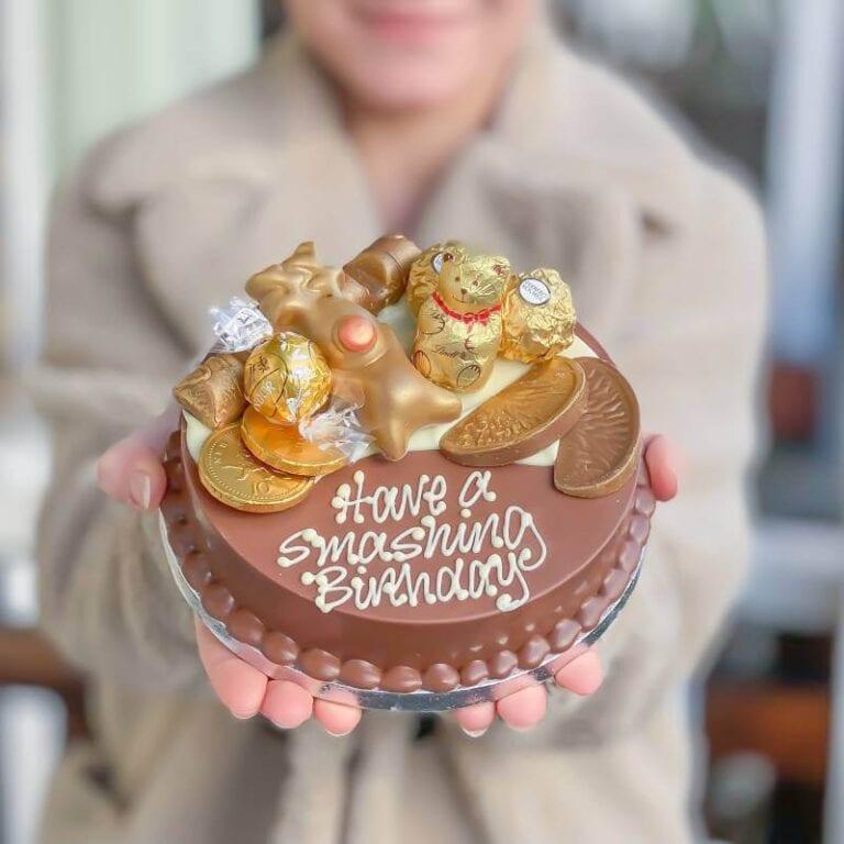 Personalised Mini Gold Chocolate Smash Cake