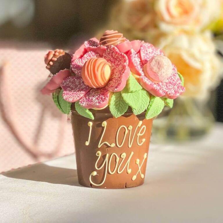 Personalised Pink Chocolate Smash Flower Pot