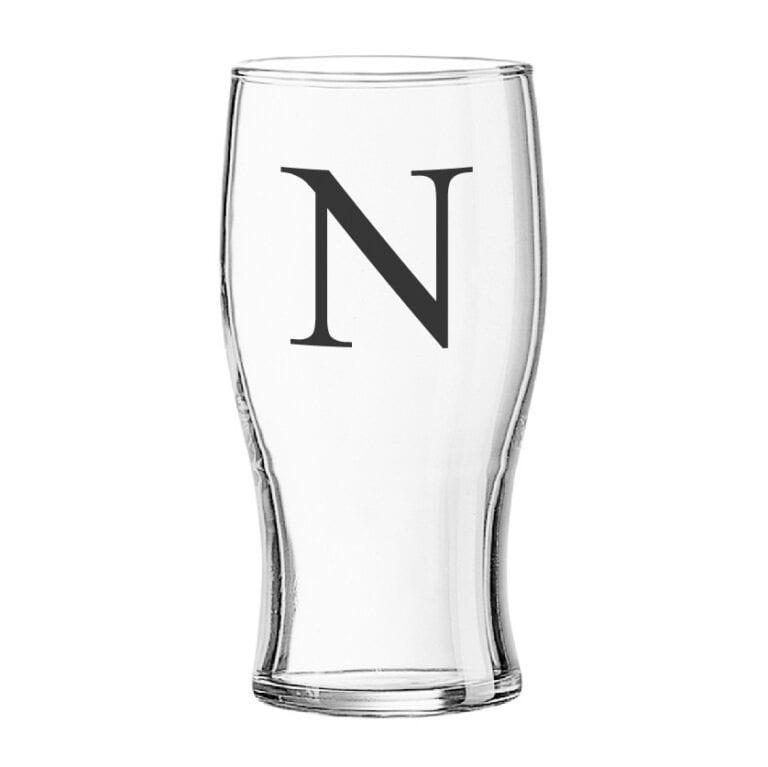 Personalised Black Monogram Tulip Pint Glass