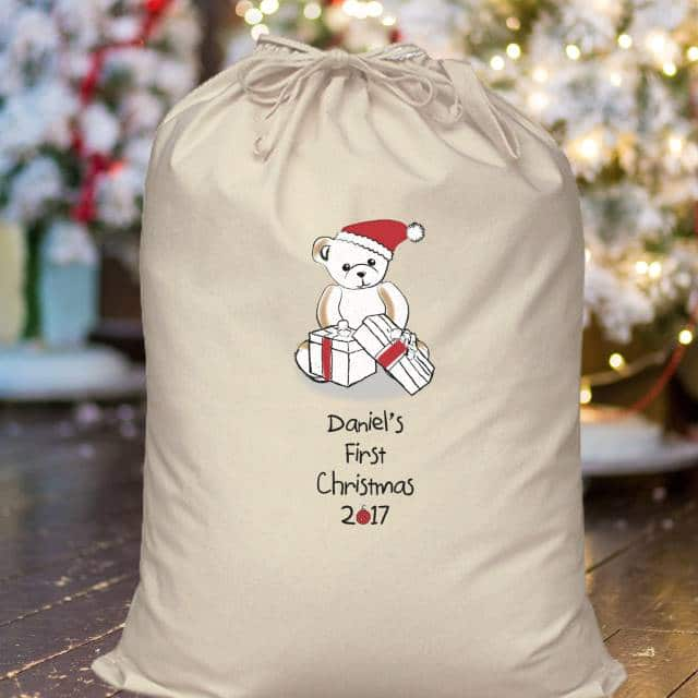 Personalised Bear My First Christmas Cotton Sack