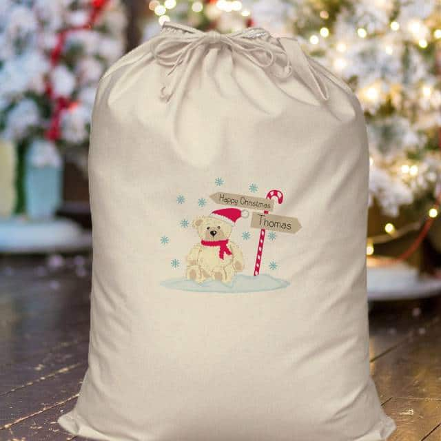 Personalised Candy Cane Bear Cotton Sack