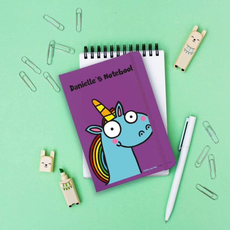 Personalised Blue Unicorn Purple Notebook