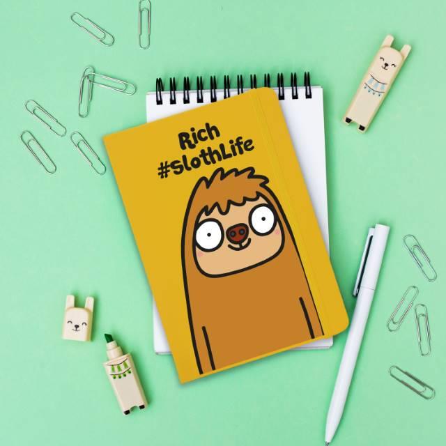 Personalised #SlothLife Yellow Notebook