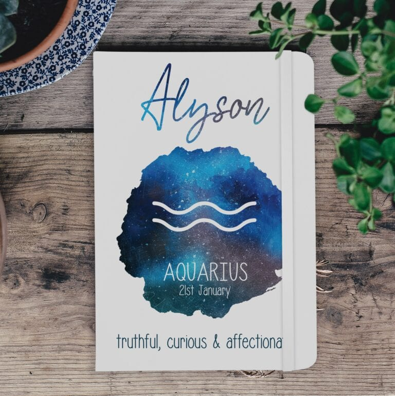Personalised A5 Horoscope White Notebook