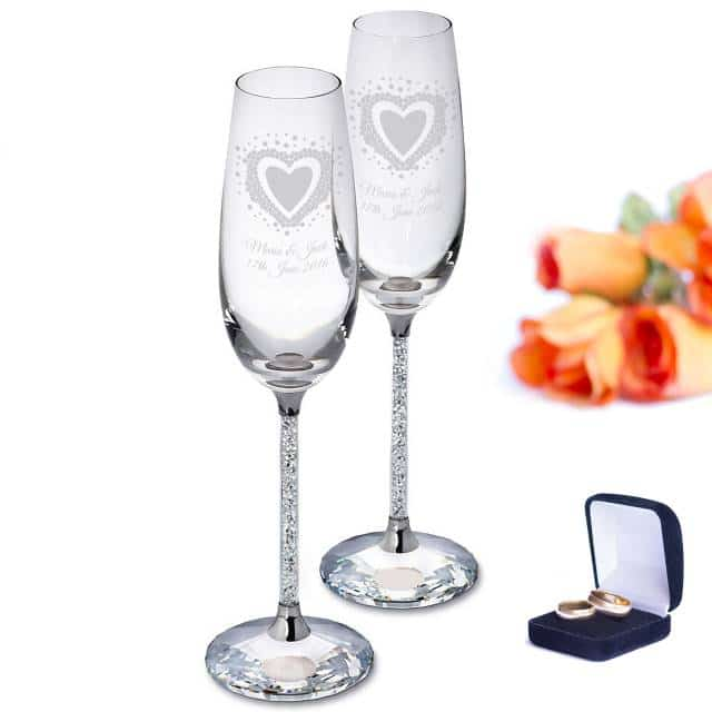 Personalised Vintage Heart Diamante Champagne Flutes