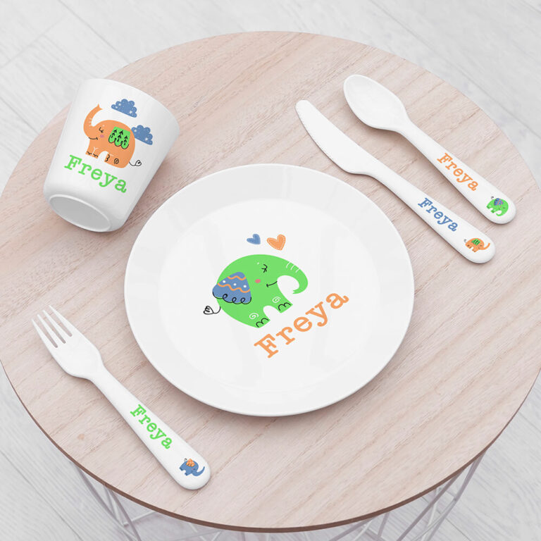 Personalised Kids Elephant Plastic Dining Set