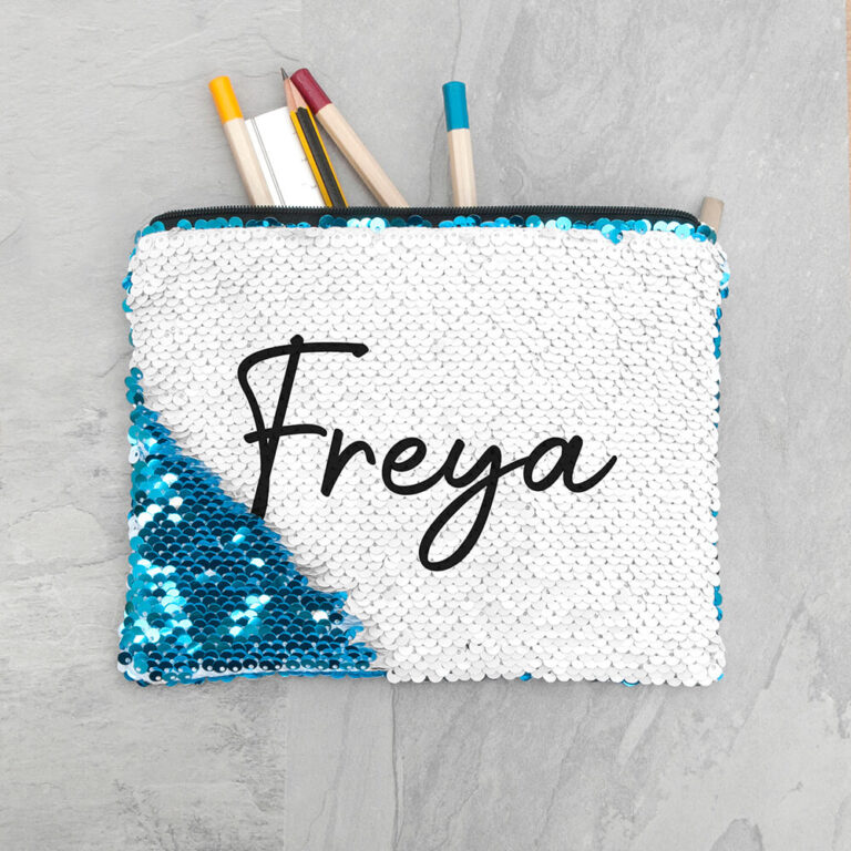 Personalised Hidden Message Sequin Pencil Case – Blue