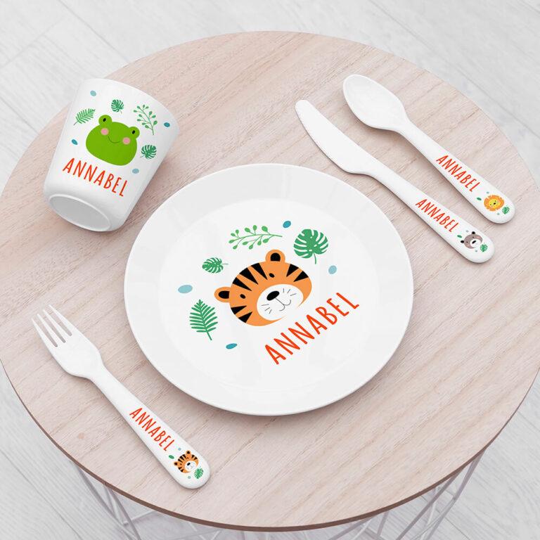 Personalised Kids Jungle Animal Plastic Dining Set