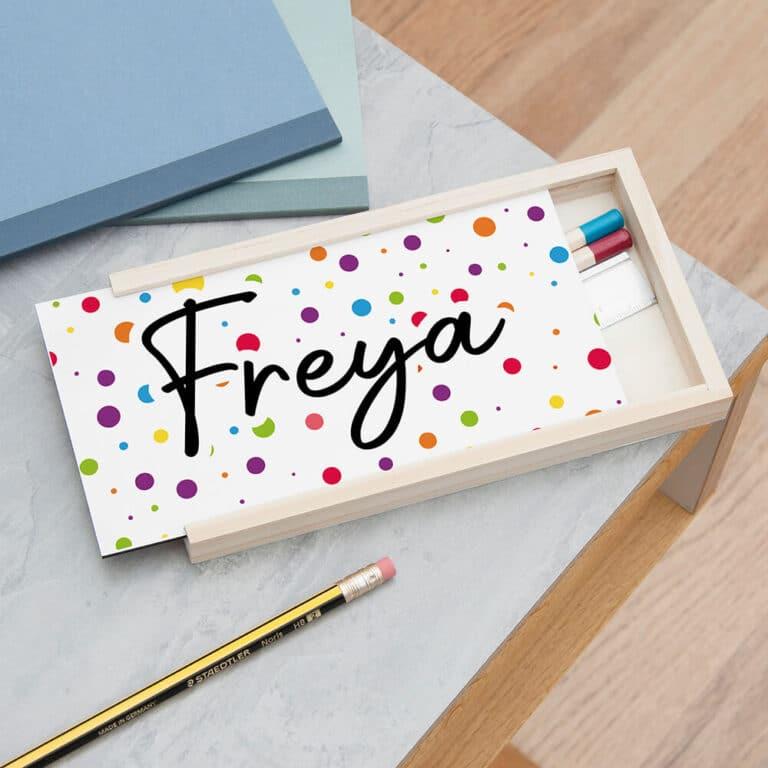 Personalised Polka Dot Pencil Box