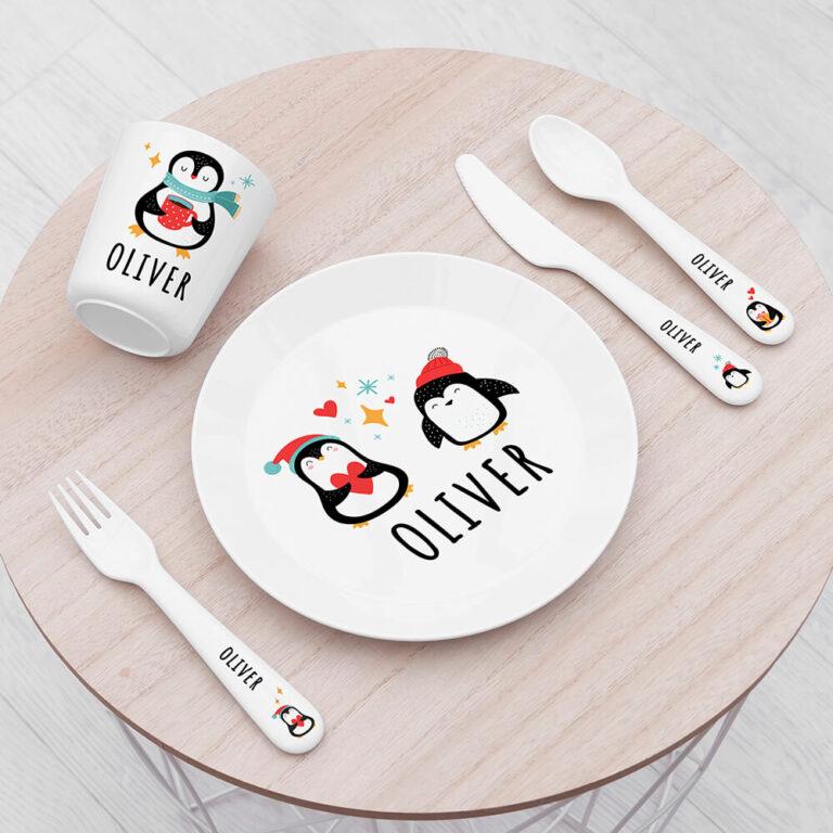 Personalised Kids Winter Penguin Plastic Dining Set