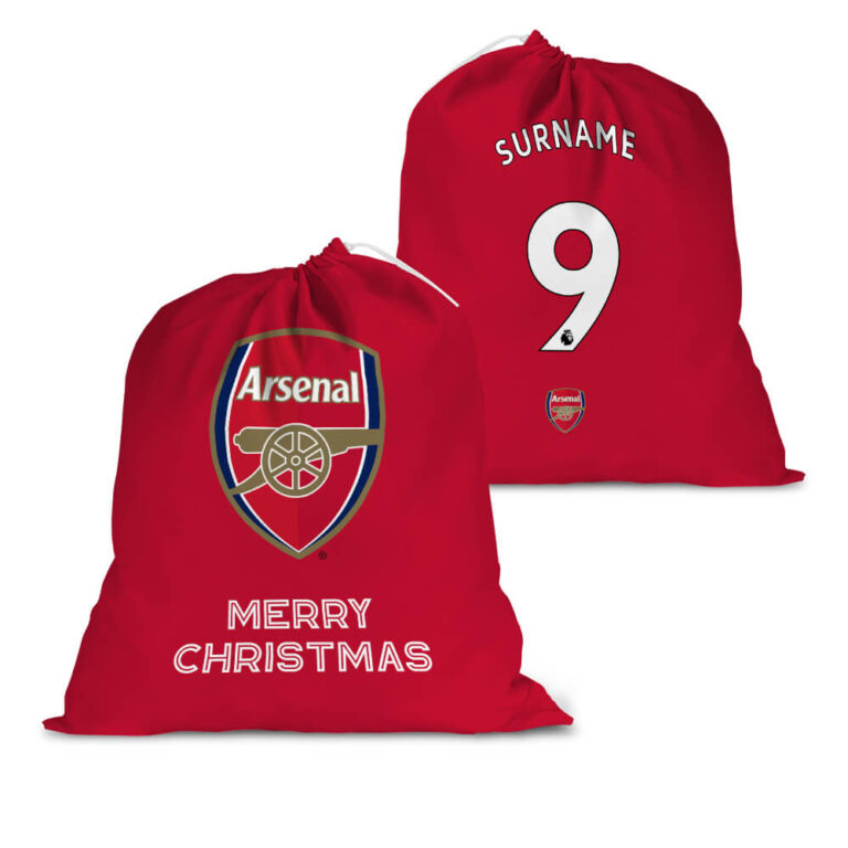Personalised Arsenal FC Back of Shirt Santa Sack