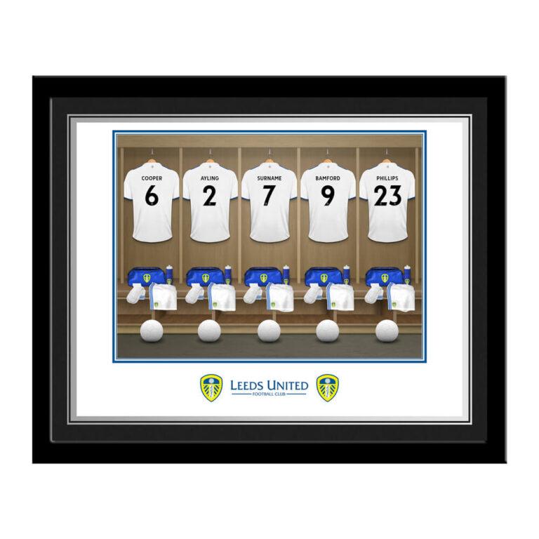 Personalised Leeds United FC Dressing Room Photo Framed