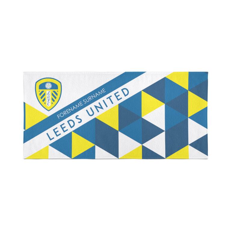 Personalised Leeds United FC Geometric Beach Towel – 80cm x 160cm