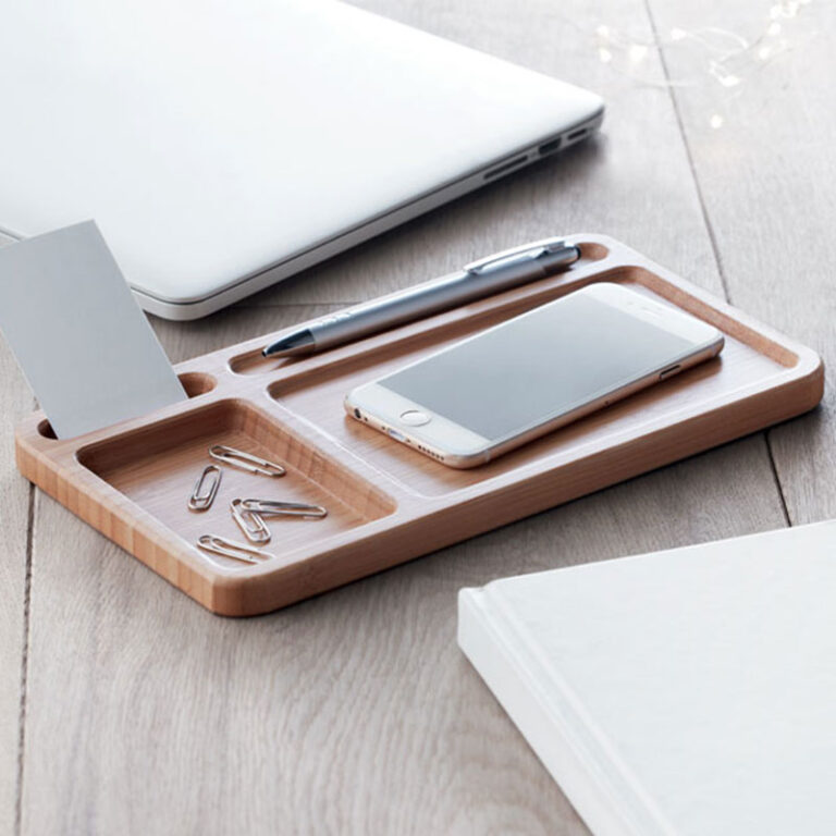 Personalised Wireless Bamboo Charger & Desk Tidy
