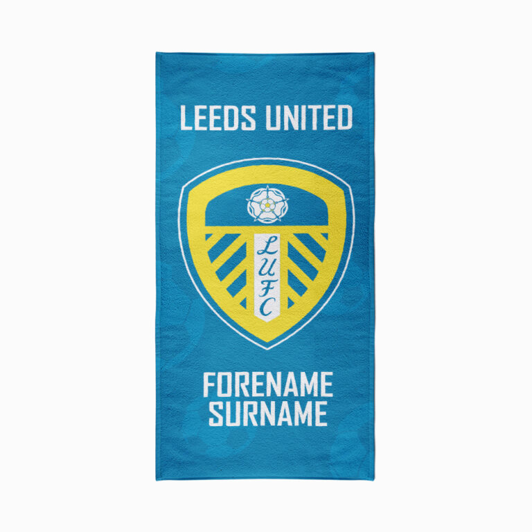 Personalised Leeds United FC Crest Beach Towel – 80cm x 160cm