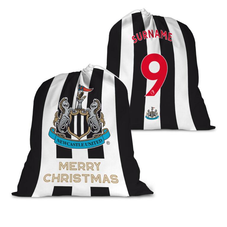 Personalised Newcastle United FC Back of Shirt Santa Sack