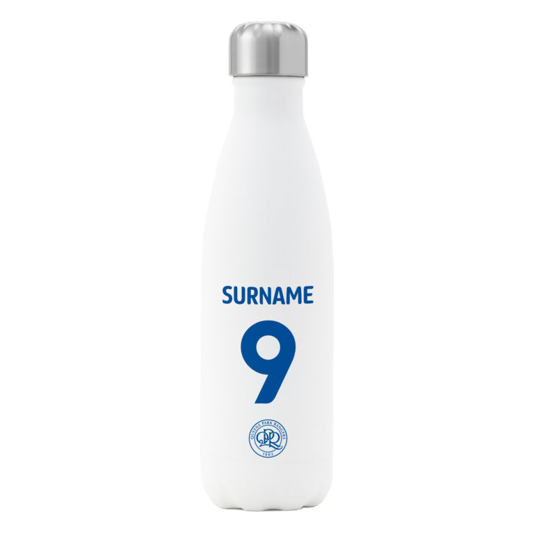 Personalised QPR FC Shirt Insulated Water Bottle – White