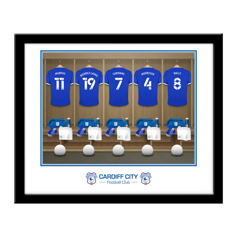 Personalised Cardiff City FC Dressing Room Framed Print