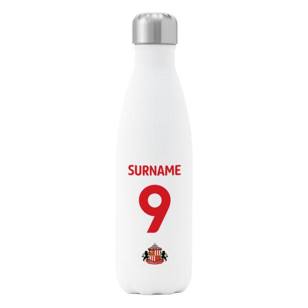 Personalised Sunderland FC Shirt Insulated Water Bottle – White
