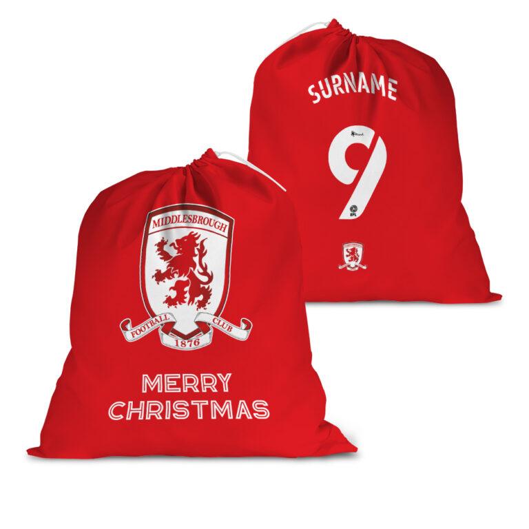 Personalised Middlesbrough FC Back of Shirt Santa Sack