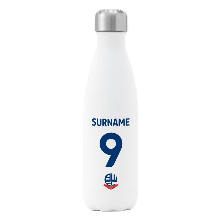 Personalised Bolton Wanderers FC Shirt Insulated Water Bottle – White