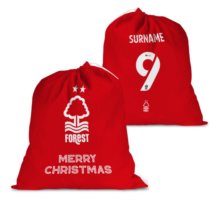 Personalised Nottingham Forest FC Back of Shirt Santa Sack