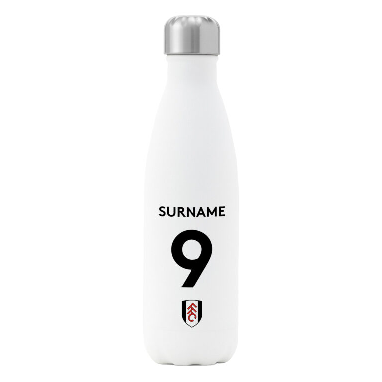 Personalised Fulham FC Shirt Insulated Water Bottle – White