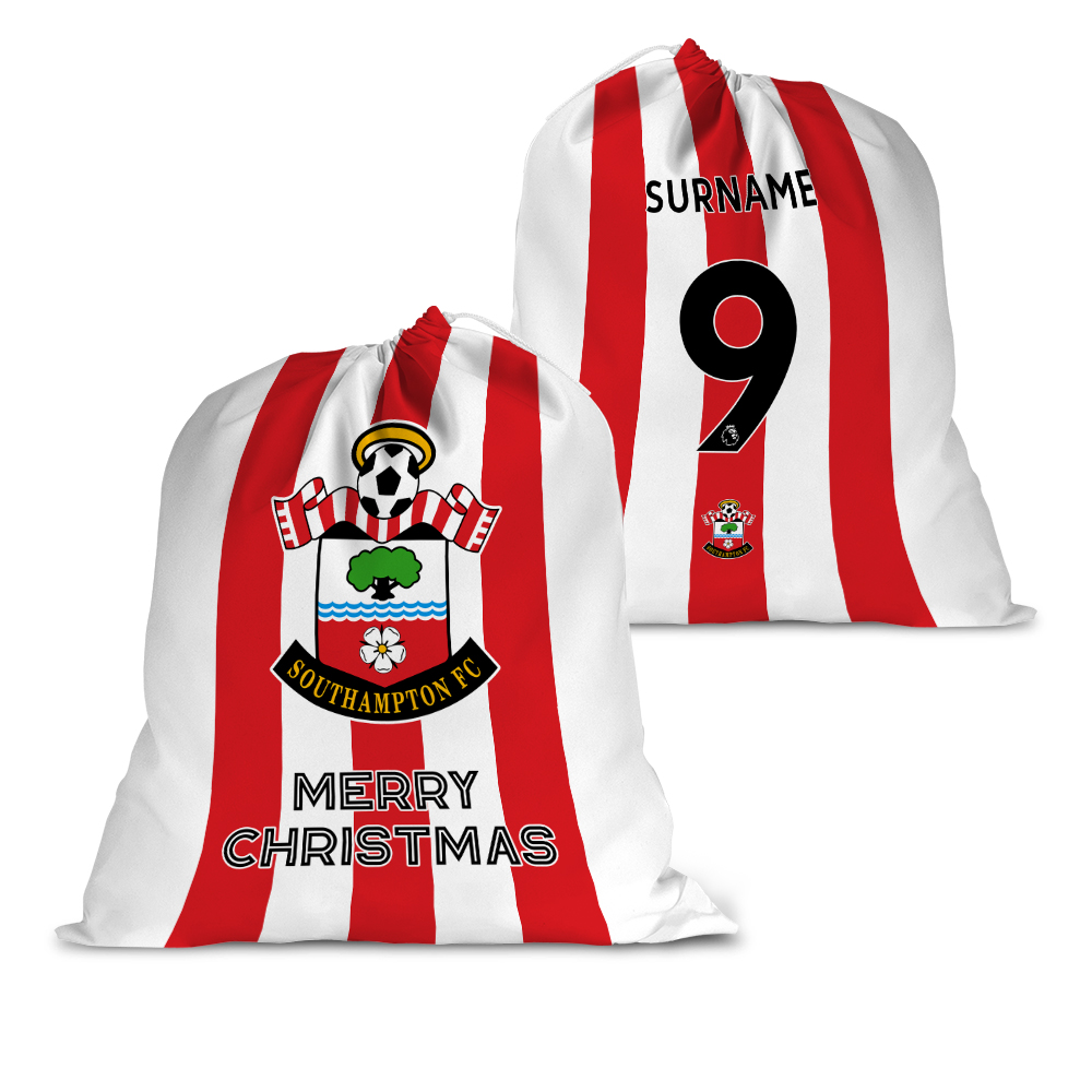Personalised Southampton FC Back of Shirt Santa Sack