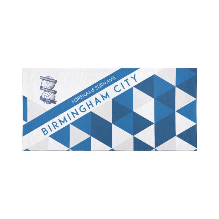 Personalised Birmingham City FC Geometric Beach Towel – 80cm x 160cm