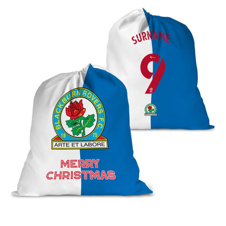 Personalised Blackburn Rovers FC Back of Shirt Santa Sack